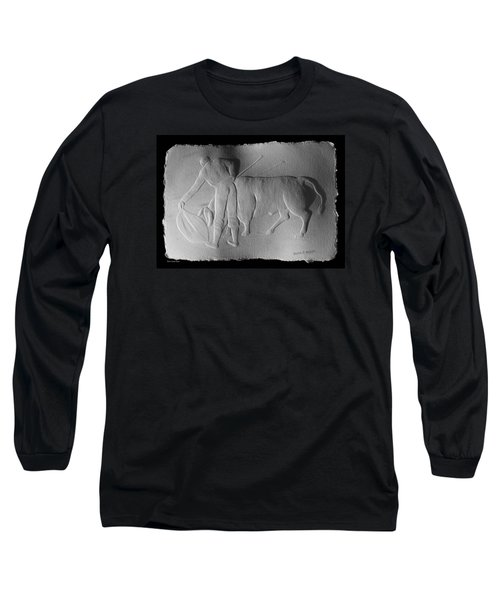 Long Sleeve T-Shirt featuring the relief Bull Fighter by Suhas Tavkar