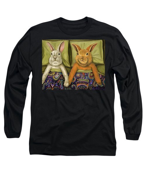 Long Sleeve T-Shirt featuring the painting Bunny Love by Leah Saulnier The Painting Maniac