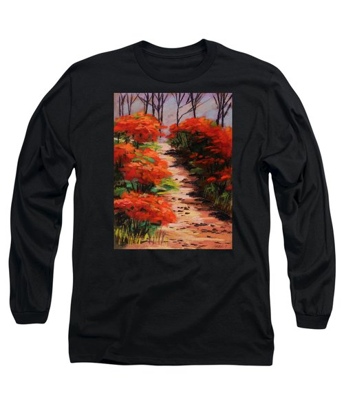 Long Sleeve T-Shirt featuring the painting Burning Bush Along The Lane by John Williams