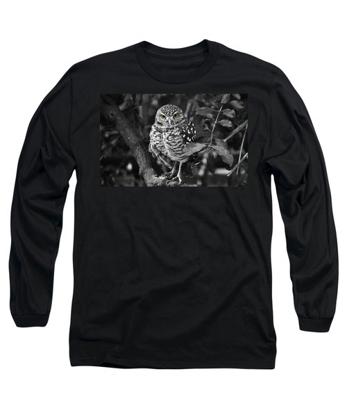 Burrowing Owl  Selective Color Eyes Long Sleeve T-Shirt by Judy Wanamaker