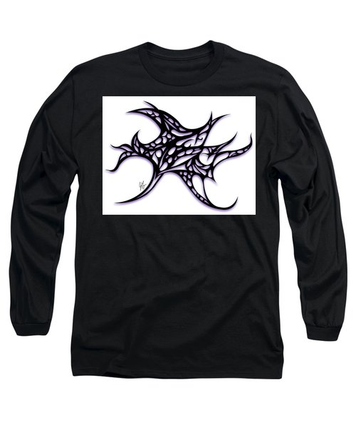 Long Sleeve T-Shirt featuring the drawing Bushal A Thorns Purple by Jamie Lynn
