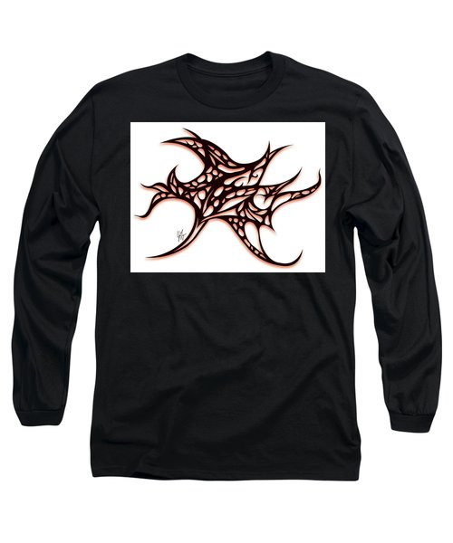 Long Sleeve T-Shirt featuring the drawing Bushal A Thorns Red by Jamie Lynn