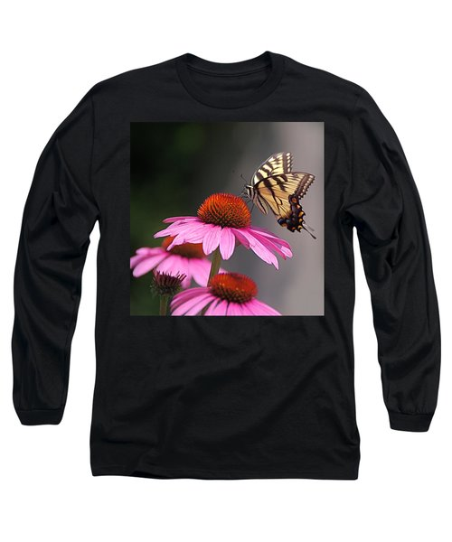 Long Sleeve T-Shirt featuring the photograph Butterfly And Coneflower by Byron Varvarigos