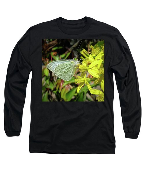 Butterfly Feasting On Yellow Flowers Long Sleeve T-Shirt