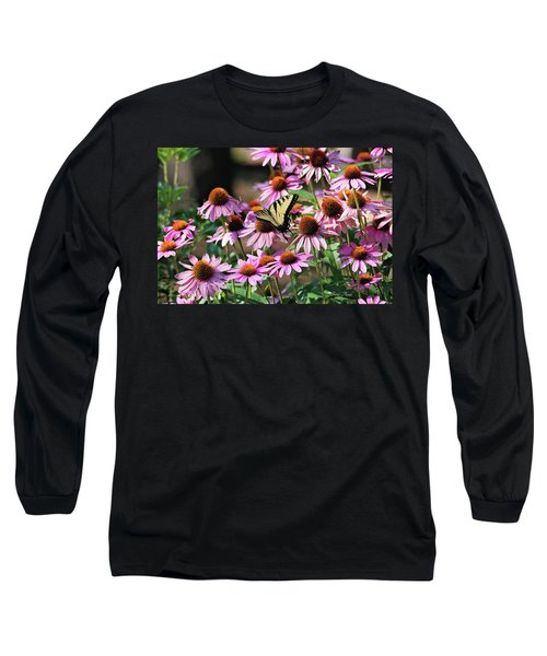 Butterfly On Coneflowers Long Sleeve T-Shirt