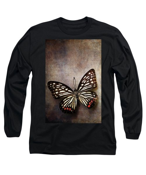 Butterfly Over Textured Background Long Sleeve T-Shirt