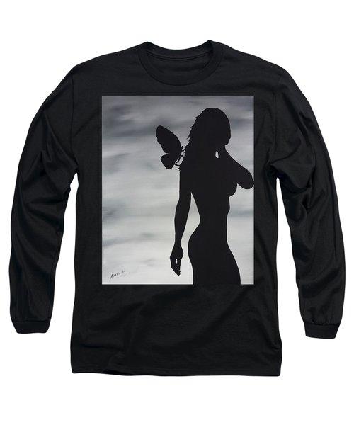 Butterfly Silhouette Long Sleeve T-Shirt