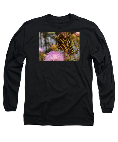 Butterfly Visit Long Sleeve T-Shirt by Tom Claud