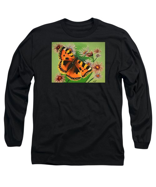 Long Sleeve T-Shirt featuring the painting Butterfly With Asters by Donna Blossom