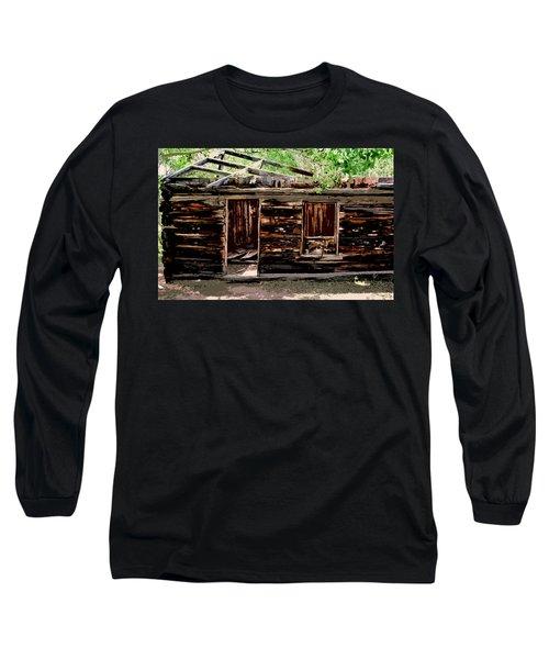 Cabin In The Woods Long Sleeve T-Shirt by Ellen Heaverlo