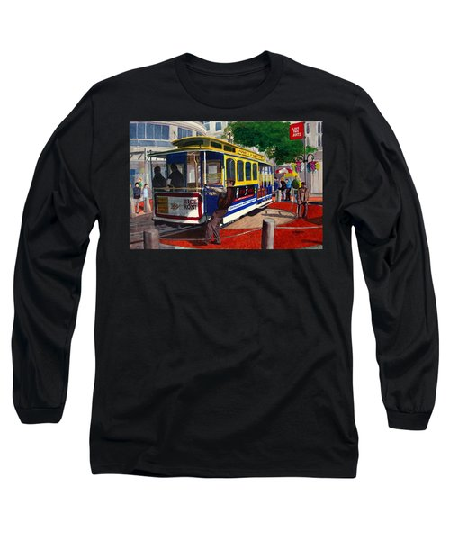 Cable Car Turntable At Powell And Market Sts. Long Sleeve T-Shirt by Mike Robles