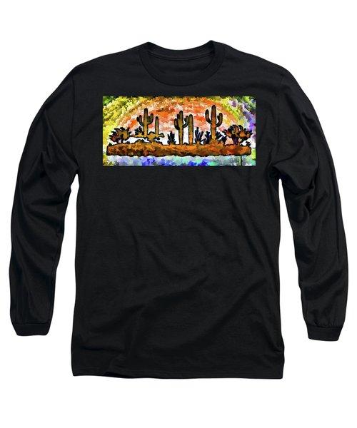 Cactus Art Abstract Painterly I  Long Sleeve T-Shirt