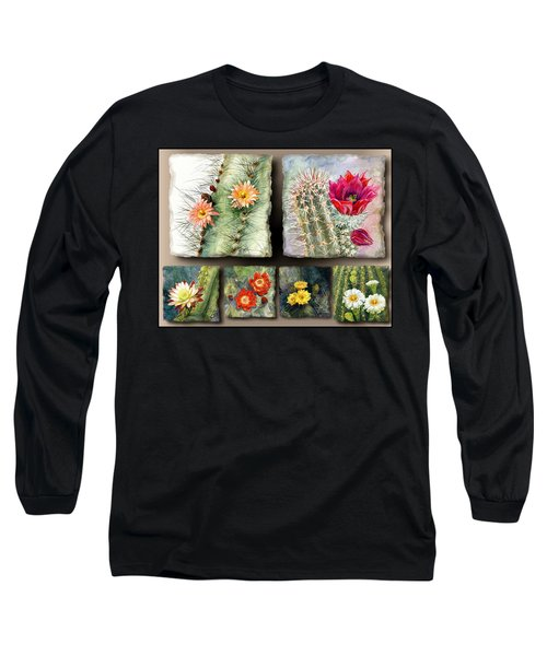 Long Sleeve T-Shirt featuring the painting Cactus Collage 10 by Marilyn Smith