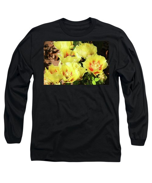 Long Sleeve T-Shirt featuring the photograph Cactus Flowers And Friend by Sheila Brown
