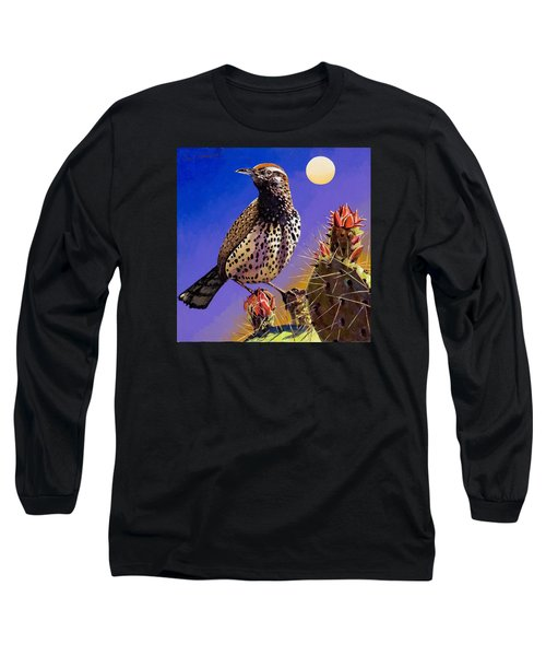 Long Sleeve T-Shirt featuring the painting Cactus Wren by Bob Coonts