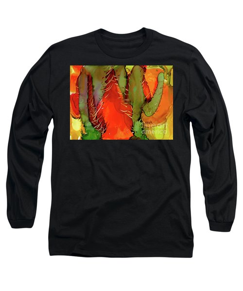 Long Sleeve T-Shirt featuring the painting Cactus by Yolanda Koh