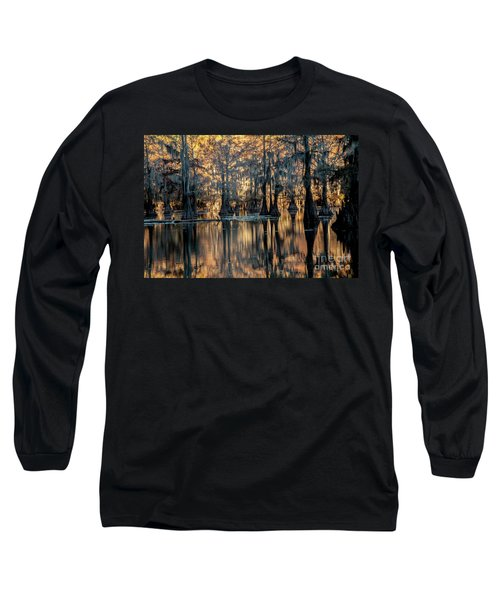 Caddo Lake Sunrise Long Sleeve T-Shirt by Iris Greenwell