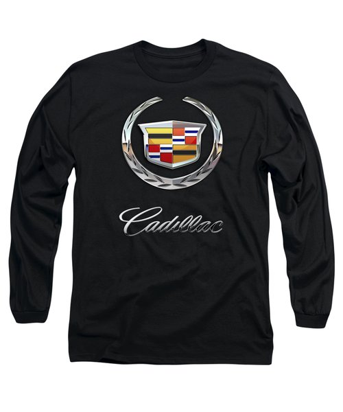 Cadillac - 3 D Badge On Black Long Sleeve T-Shirt by Serge Averbukh