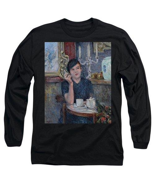 Cafe De Paris  Long Sleeve T-Shirt by Pierre Van Dijk