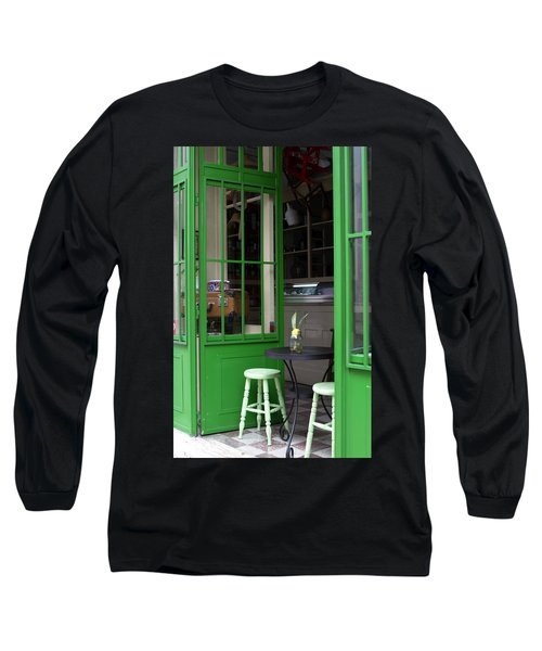 Long Sleeve T-Shirt featuring the photograph Cafe In Green by Lorraine Devon Wilke