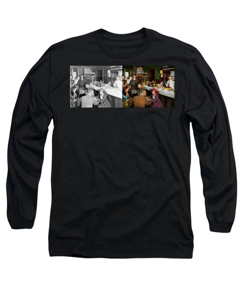 Long Sleeve T-Shirt featuring the photograph Cafe - Temptations 1915 - Side By Side by Mike Savad