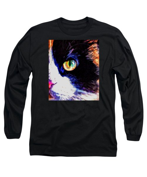 Long Sleeve T-Shirt featuring the photograph Calico Cat by Kathy Kelly