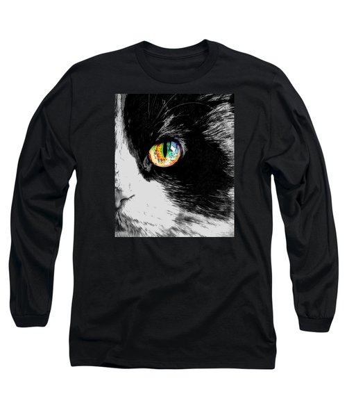 Calico Cat With A Splash Long Sleeve T-Shirt by Kathy Kelly