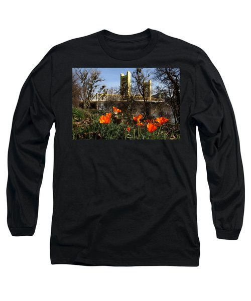 California Poppies With The Slightly Photographically Blurred Sacramento Tower Bridge In The Back Long Sleeve T-Shirt