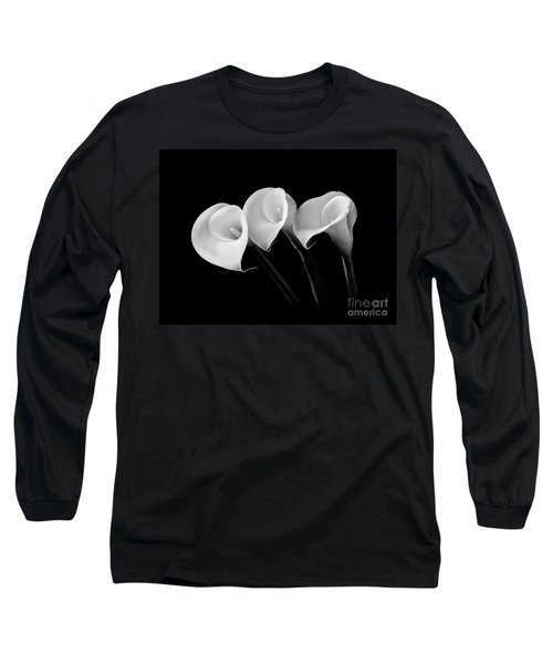 Calla Lilies - Black And White Long Sleeve T-Shirt