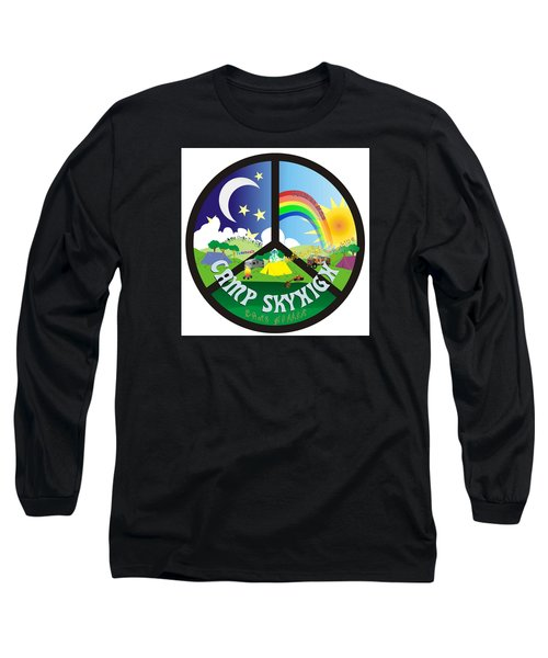 Long Sleeve T-Shirt featuring the drawing Camp Skyhigh by Karen Musick