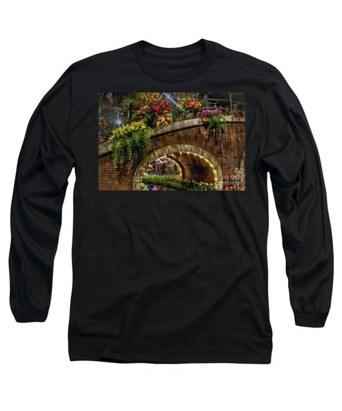 Canal And Bridge  Long Sleeve T-Shirt by Sandy Moulder