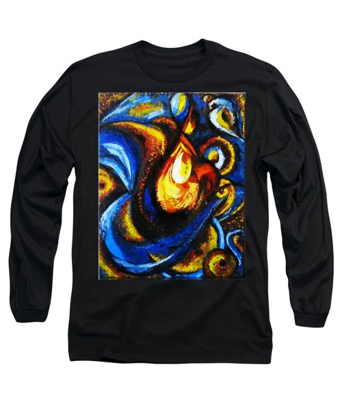 Long Sleeve T-Shirt featuring the painting Candle In Your Heart by Harsh Malik