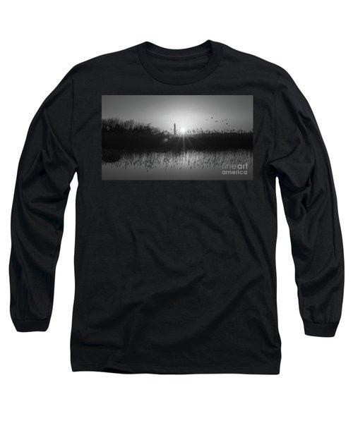 Cape May Light Bw Panorama  Long Sleeve T-Shirt