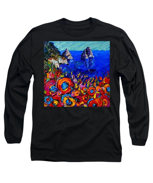Capri Faraglioni Italy Colors Modern Impressionist Palette Knife Oil Painting By Ana Maria Edulescu  Long Sleeve T-Shirt