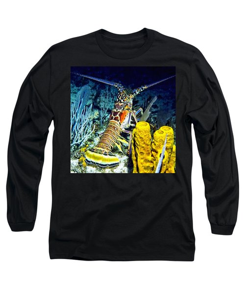 Caribbean Reef Lobster Long Sleeve T-Shirt by Amy McDaniel
