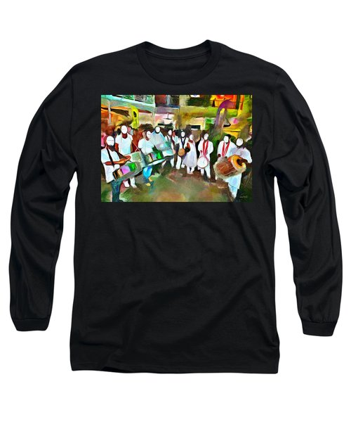Caribbean Scenes - Pan And Tassa Long Sleeve T-Shirt by Wayne Pascall