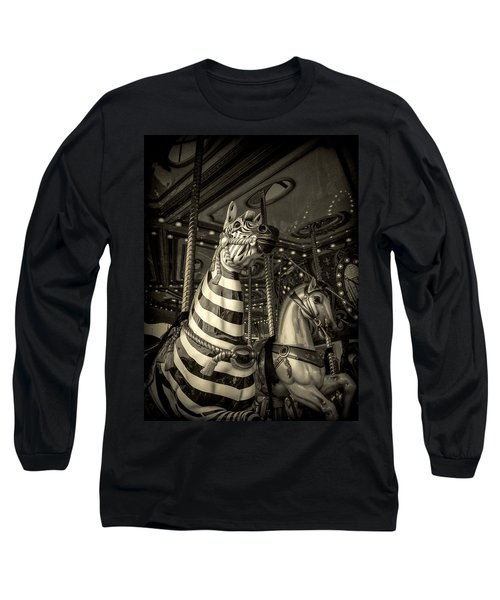 Long Sleeve T-Shirt featuring the photograph Carousel Zebra by Caitlyn Grasso