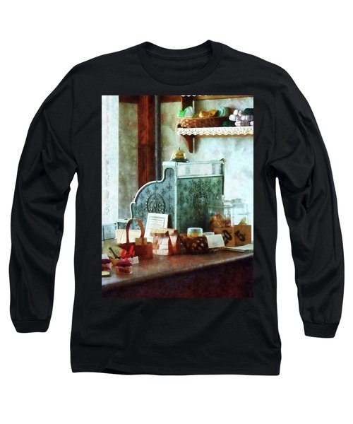 Long Sleeve T-Shirt featuring the photograph Cash Register In General Store by Susan Savad