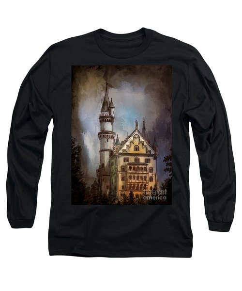 Long Sleeve T-Shirt featuring the painting Castle Neuschwanstein by Andrzej Szczerski