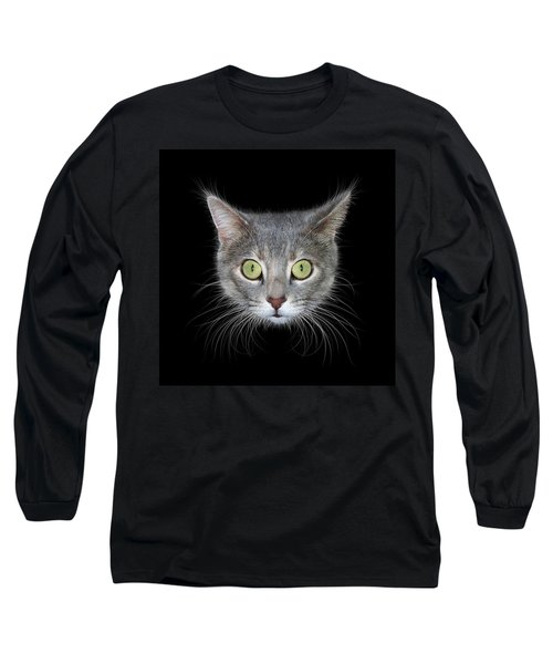 Cat Head On Black Background Long Sleeve T-Shirt by James Larkin