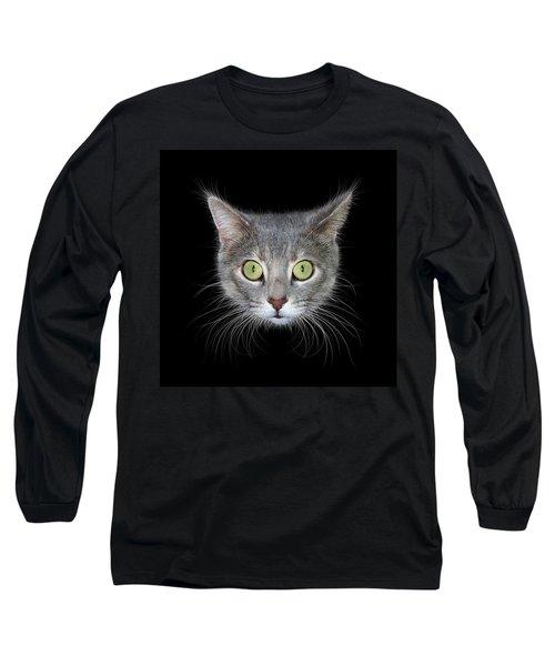 Cat Head On Black Background Long Sleeve T-Shirt