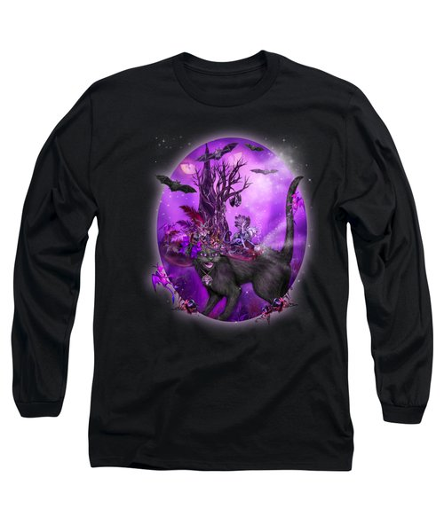 Cat In Goth Witch Hat Long Sleeve T-Shirt by Carol Cavalaris