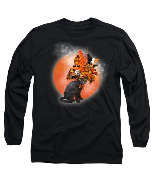 Long Sleeve T-Shirt featuring the painting Cat In Halloween Cupcake Hat by Carol Cavalaris