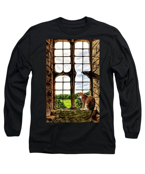 Cat In The Castle Window-close Up Long Sleeve T-Shirt