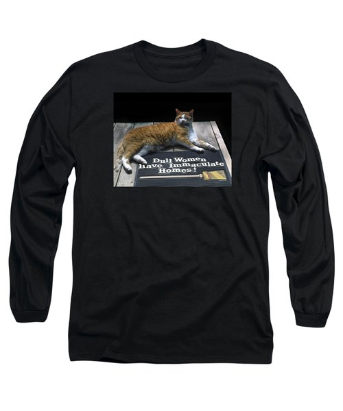 Long Sleeve T-Shirt featuring the photograph Cat On Dull Women Mat by Sally Weigand
