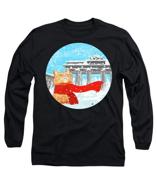 Cat With Scarf Long Sleeve T-Shirt by Carolina Matthes