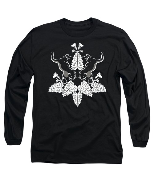Cats And Catnip White On Black Long Sleeve T-Shirt