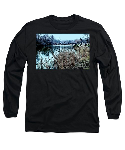 Cattails On The Water Long Sleeve T-Shirt by Sandy Moulder