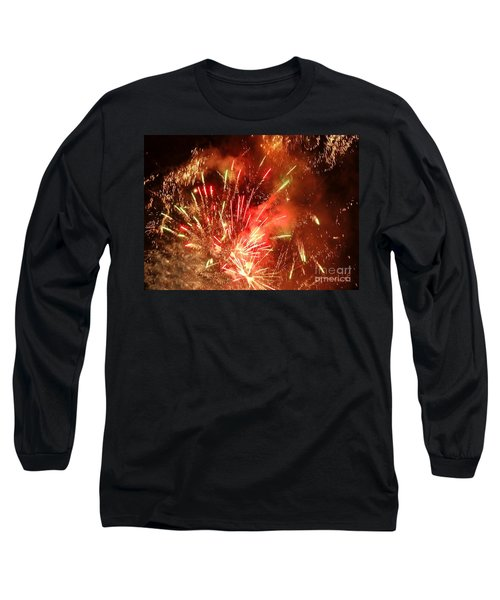 Celebratory Fireworks And Firecrackers Light Up The Sky Long Sleeve T-Shirt by Yali Shi
