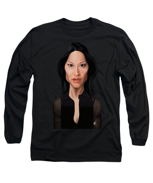 Long Sleeve T-Shirt featuring the drawing Celebrity Sunday - Lucy Liu by Rob Snow